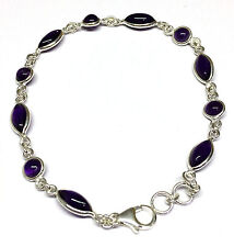 Handmade 925 Sterling Silver Bracelet with Real Amethyst Stones and Gift Box