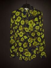 LOVE FIRE Semi Sheer Button Front Blouse Hi Low Back Size Small Bright Green