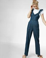 5d28b0d8cc39 EXPRESS 6 BLUE DENIM RUFFLE V-NECK PANTS JUMPSUIT sleeveless jean wide leg  small