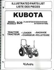 Kubota B20 Tractor LOADER BACKHOE Illustrated Parts Manual