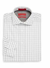 Saks Fifth Avenue Red Men's Trim Fit Dress Shirt Window Pane 14.5 to 17.5  NEW