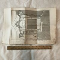 Authentic Antique 1600's Engineering Engraving On Paper - Decor Display Worthy A