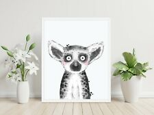 Lemur cute Nursery Peekaboo style wall art print Framed unframed