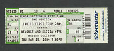 2004 Beyonce and Alicia Keys concert ticket Nassau Coliseum Dangerously In Love