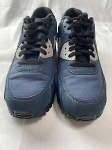 NIKE AIR MAX 90 ESSENTIAL USED MEN 9 BLUE FABRIC LOW TOP SNEAKERS 537384-413