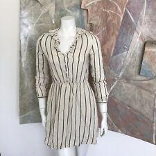 & Other Stories Linen Striped Anthropologie Collar Short 3/4 Sleeve Dress 4