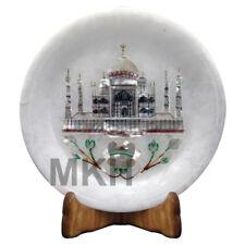 "Taj Mahal 5"" Marble Plate Mosaic Decor Inlay Stone Marquetry Pietra Dura Vintage"