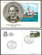 CARTOLINA RICCIONE FIERA INTERNAZIONALE FRANCOBOLLO 1492 -1992 Colombo dis. CUMO