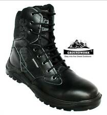 MENS BLACK LEATHER LACE UP POLICE/ARMY BOOT WITH PADDED COLLAR SIZES 7-11