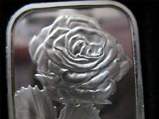1-OZ PURE SILVER.999 BEAUTIFUL ART BAR  SINGLE ROSE STEM BIRTHDAY GIFT + GOLD
