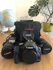 Canon 500D camera + 3 lenses + bag + battery and charger