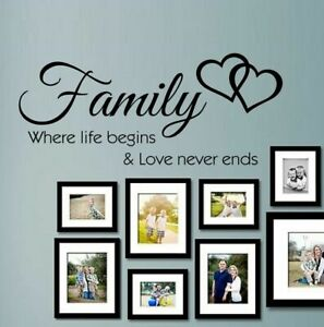 Family Wall Love Quote Where life begins Vinyl Sticker Wall Art Home Mural Decal