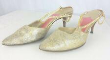 Schiaparelli Shoes Jeweled Glitter Metallic Kitten Heel Strappy Pinup 1950s Vtg