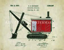 Excavator Patent Art Print Poster  Construction Equipment Vintage Parts  PAT341