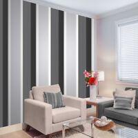 Stripe Wallpaper Bold Charcoal Grey Black White Silver Luxury Modern