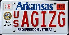 "ARKANSAS "" IRAQI FREEDOM VETERAN - US ARMY "" AR Military Specialty License Plate"