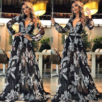 Womens Boho Floral Swing Long Maxi Dress Ladies Summer Beach Holiday Party Dress