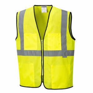 Portwest US380 Tampa Hi-Vis Reflective Safety Work Zipper Cooling Mesh Vest ANSI