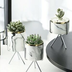 Artistic Marble Pattern Ceramic Plant Pot Indoor Attractive Household Design Vas