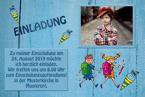 Dein Foto - Einschulung Danksagungskarten Einladung Fotokarten blaues Holz