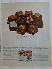 1963 Carnation evaporated milk Can't Fail 5-minute fudge recipe vintage ad
