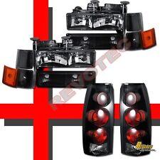 94-98 Chevy CK Suburban Silverado Black Headlights Set & Tail Lights Dark Smoke