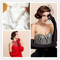 Hot Satin Long Gloves Opera Wedding Bridal Evening Party Prom Costume Gloves ID