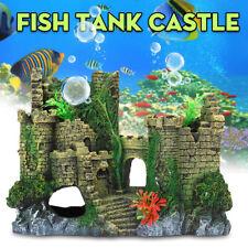 Resin Castle Shape Aquarium Ornament Air Bubble Pump Stone Fish Tank
