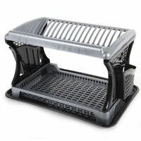 Plastic 2 Tier Layer Plate Bowl Dish Drainer Utensil Cutlery Rack Holder Black