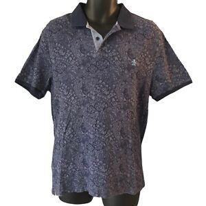 Penguin Men's Polo Shirt Large Paisley Blue Logo Heritage Slim Fit