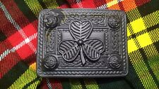 Kilt Belt Buckle Large Irish Shamrock Celtic 4 Demo Jet Black Scottish Buckles