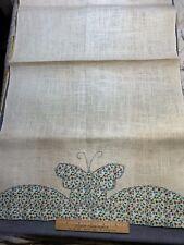 Vintage Linen Kitchen Toweling Towel Fabric Pretty Butterflies Unused