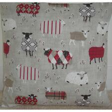 "16"" Cushion Cover Baa Tartan Sheep Red Black Grey Taupe Beige and Cream Farm"
