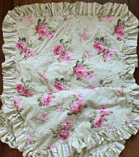 """Set of 2 Shabby Sweet Cottage Style Pillow Sham 19.5"""" Square Green w Pink Roses"""