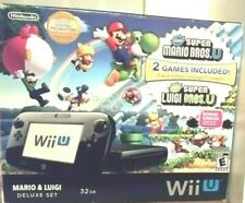 Nintendo Wii U Mario and Luigi Deluxe Set 32GB Black Console w/ Box and Games