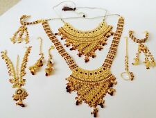 INDIAN WEDDING DESIGNER GOLD RED FASHION BRIDAL KUNDAN NECKLACE SET JEWELRY