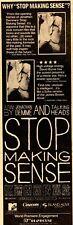 "Talking Heads rare orig 1984 ""Stop Making Sense"" Nyc Movie Premier Print Ad"
