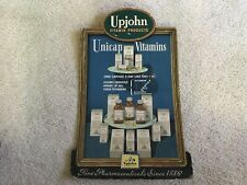 Upjohn Vitamin Products Vintage Cardboard Unicap Vitamins Sign, Kalamazoo, Mi.