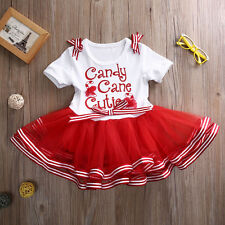 Christmas Girls Princess Dress Candy Cane Party Tulle Xmas Gift Dress Age 1-6Y