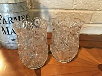 "American Brilliant Cut Glass Crystal 8"" Saw Toothed Antique Vases Set of 2"