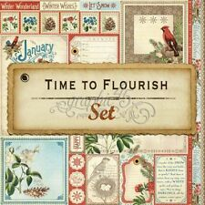 "GRAPHIC 45 ""TIME TO FLOURISH"" 12X12 PAPER PACK (24) BOTANICALS SCRAPJACK'S PLACE"