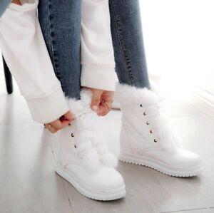 Womens Lace up Warm Fur Trim Ankle Boots Warm Fur Snow Student Casual Shoes Plus