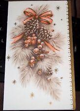 Vintage 1964 Gold Tone & Glitter Christmas Card Ornaments Pinecones & Ribbon