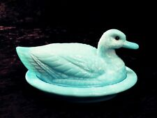 Westmoreland Glass Duck On Nest Hues Of Blue Glass Eye Gorgeous Large Signed