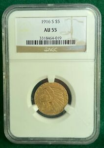 1916 S $5 FIVE DOLLAR INDIAN HEAD HALF EAGLE GOLD NGC AU55 BETTER DATE 019