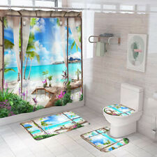 Scenery Bathroom Rug Set Shower Curtain Thick Non-Slip Toilet Lid Cover Bath Mat