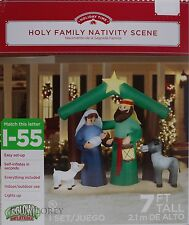 Christmas Gemmy 7 ft Lighted Holy Family Nativity Scene Airblown Inflatable NIB