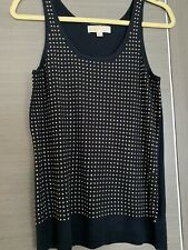 Ladies MICHAEL KORS Navy Blue Knitted Top With Gold Studs Size M