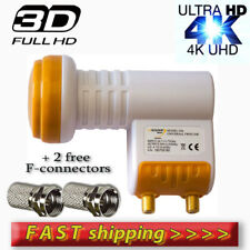 TWIN LNB DUAL HD  0.1dB ULTRA HD 3D 4K SKY,FREESAT, CYFROWY + 2free F-connectors