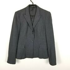 Theory Women Wool Jacket Two Buttons Career Blazer Lined Gray 10